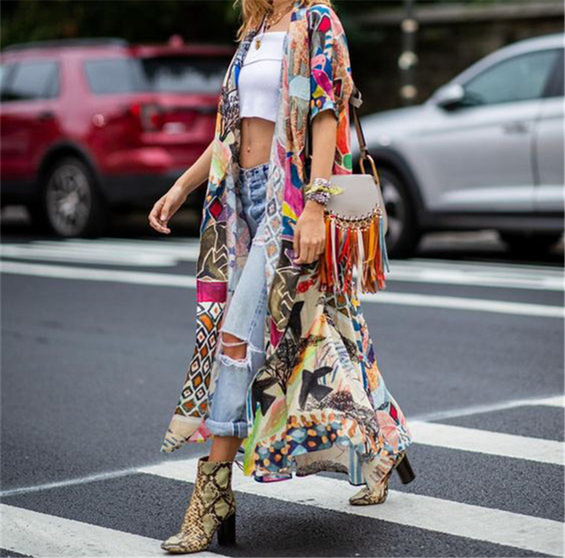 HTB1V7uMQ7voK1RjSZFDq6xY3pXaH - Bohemian Printed Half Sleeve Summer Beach Wear Long Kimono Cardigan Cotton Tunic Women Tops Blouse Shirt Sarong plage N796