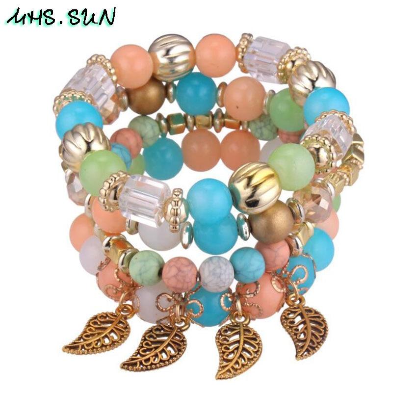 54 ,BX054,$2.3,4Fashion Bohemia Women Beaded Bangles Bracelets Vintage European Girl Ethnic Layered Bracelets Bangles All-Match Jewelry