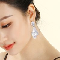 Fast shipping Long Leaf Drop Earrings White Bridal Wedding Jewellery Trendy Brass Jewelry Women's earring for Party