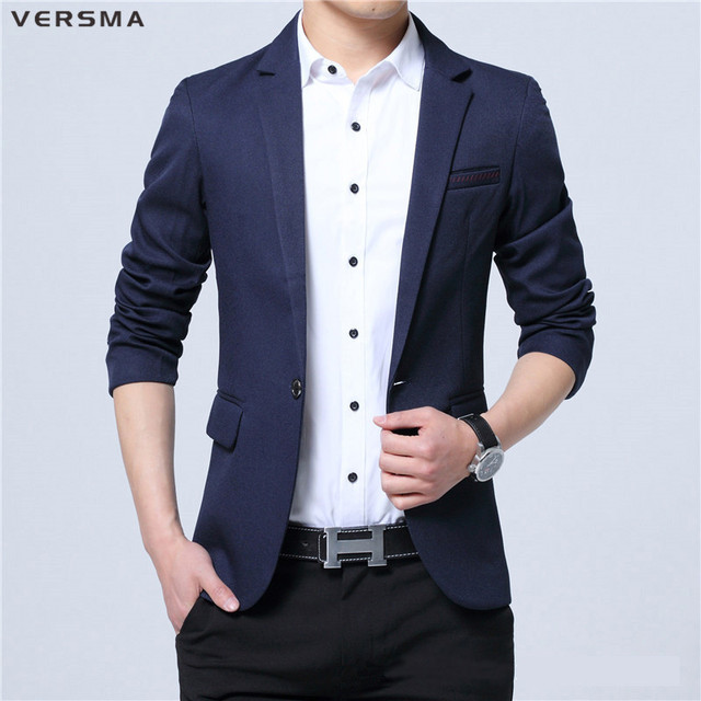 Versma Business Men Formal Solid Tuxedo Blazer Suit Jacket Slim Fit Vintage Office Wear Dress