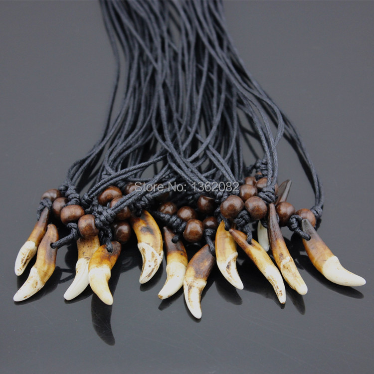 Wholesale 10pcs Tibet Real Tooth Fangs Wolf Teeth Pendants Surfer Adjustable Necklace Amulet