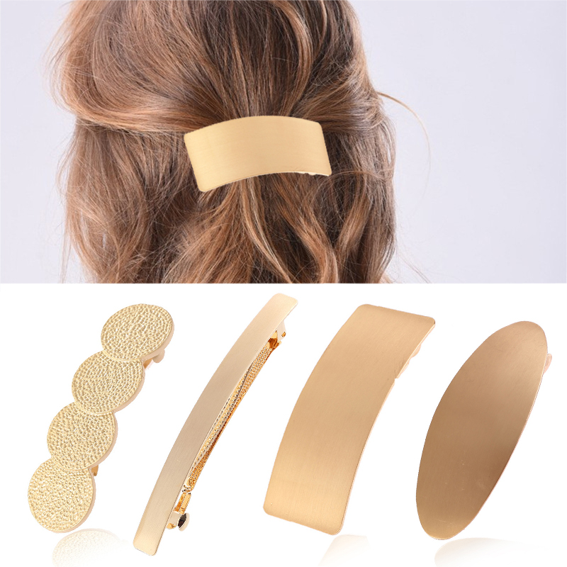 Golden Hair Accessories Hollow Out Simple Hair Clips Big 1PC Oval High Quality Wide Ponytail Holder Circle Large Round Silver