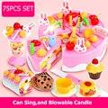 Набор из 37-75 шт.  сделай сам  игрушки для торта  торта на день рождения с музыкой  легкие кухонные игрушки  Cocina De Juguete для девочек  подарок