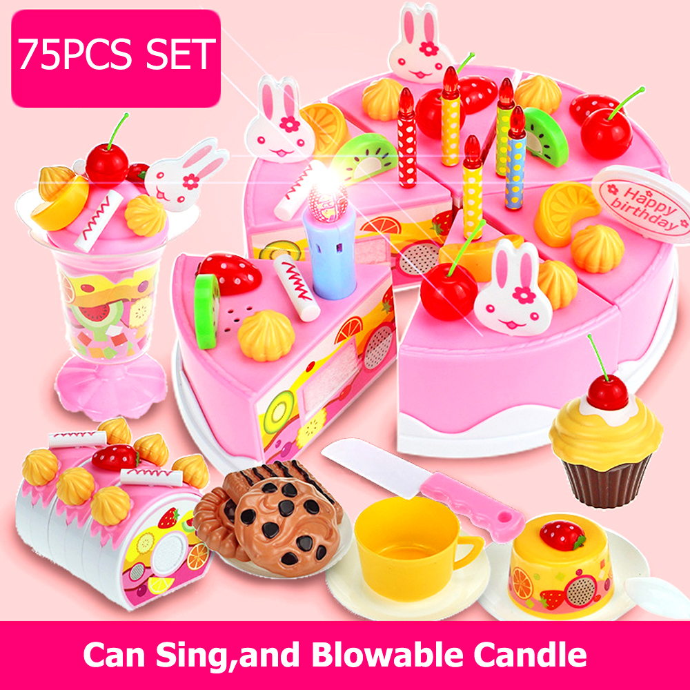 37-75pcs Set DIY Pretend Play Cut Cake Toys Birthday Cake with Music Light Kitchen Food Toys Cocina De Juguete for Girls Gift birthday cake
