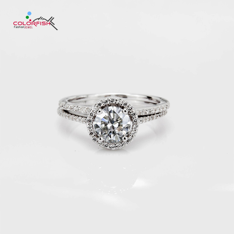 COLORFISH 1 Ct Round Cut Halo Engagement Ring Set For Women Solid 925 Sterling Silver Jewelry