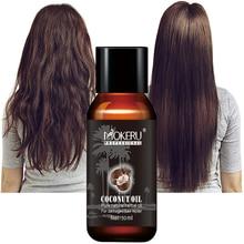 Mokeru organiczne naprawy uszkodzonych suche włosy wygładzanie Anti Frizz dziewiczych czysty olej do włosów serum wzrostu olej kokosowy dla pielęgnacja włosów
