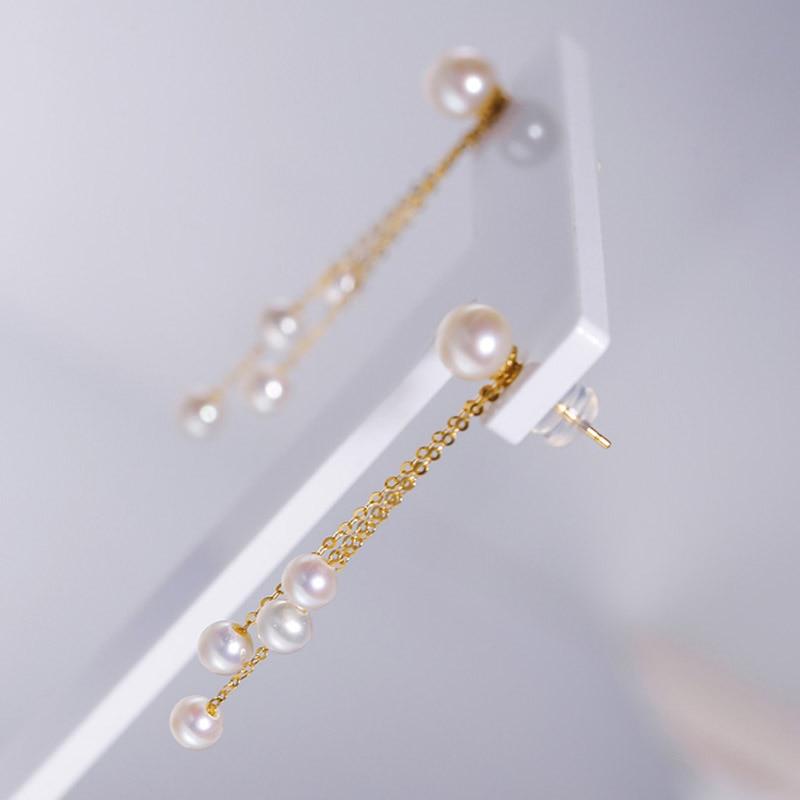 Sinya Classical 18k gold pearls tassel drop earring Natural Round pearls earring in Au750 gold for Women girls Mum DIY wear 2019