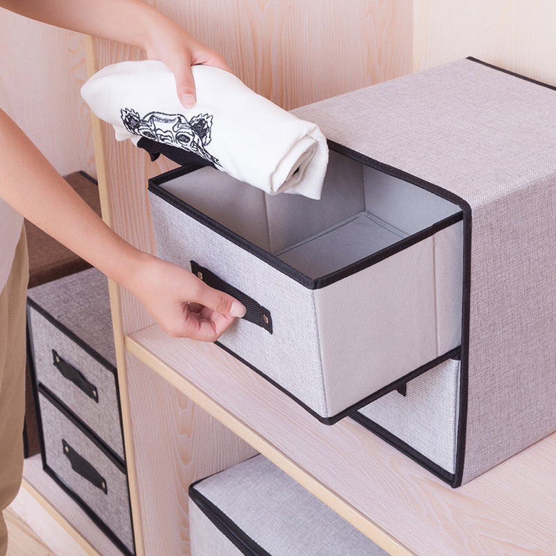 Stackable and Foldable Clothes Drawer Organizer and Cotton Clothes Storage Box with Zipper and Divider 4