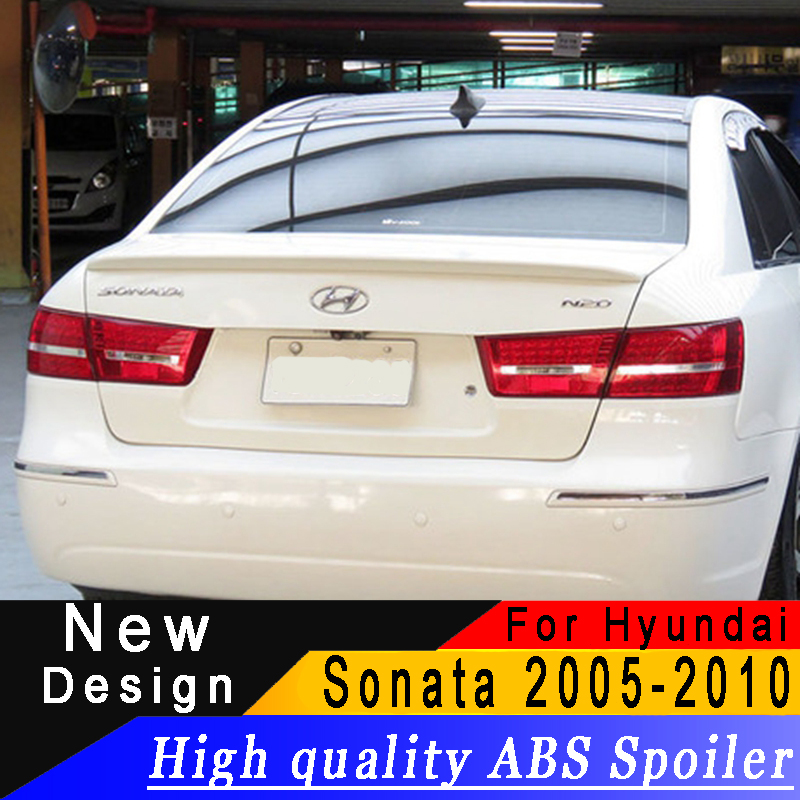 For Hyundai Sonata 2005 to 2010 spoiler high quality ABS Material any color or primer rear wing beautification decorationFor Hyundai Sonata 2005 to 2010 spoiler high quality ABS Material any color or primer rear wing beautification decoration