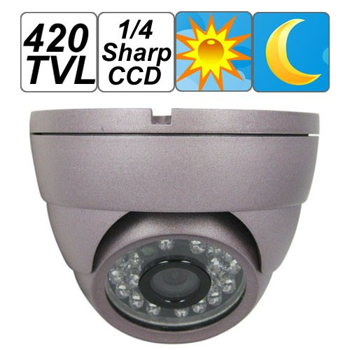 Violet Dome 420TVL 1/4 Sharp CCD CCTV Camera for Security Video Surveillance , 24 pcs IR LED/20m Night Vision, Free Shipping free shipping sony ccd cctv camera 1200tvl ir cut filter security ir dome camera indoor home security night vision video camera