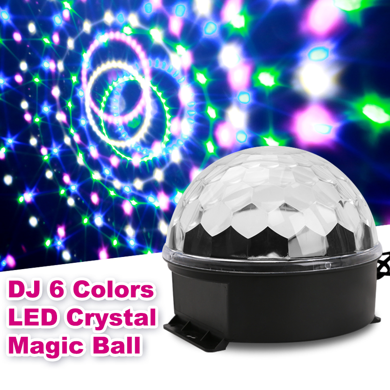 6 Color LED Auto Stage Light RGB Strobe Effect Disco Ball For Kids Gift Holiday Party Wedding Pub Dancing Show Festival KTV DJ H mini rgb led party disco club dj light crystal magic ball effect stage lighting