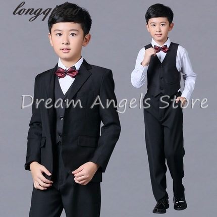 2016(Jackets+Vest+Pants+Bow Tie+Shirt) Boy Suits Flower girl Slim Fit Tuxedo Brand Fashion Bridegroon Dress Wedding Black Blazer цены онлайн