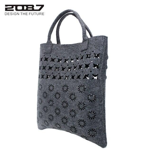 2087 Brand Fashion Felt Bag Women Shoulder Bags Large Hollow Out Flower Ping Handbag Beach