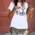 Nuevas mujeres de la Moda Encabeza 2016 Camiseta Del Verano de Impresión de la Letra Del O-cuello de Manga Corta de Algodón Blanco camiseta Mujer Camisetas Mujer QA924