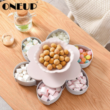 ONEUP New 6 Grid Rotatable Storage Box for Seeds Nuts Candy Dry Fruits Storage Case for Kids Protect Fruit Case Organizer Tray