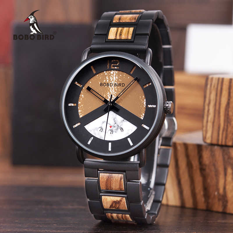 91f621c24 BOBO BIRD Wood Metal Watch Military Timepieces Color Matching Dial Stylish  Date Display erkek kol saati