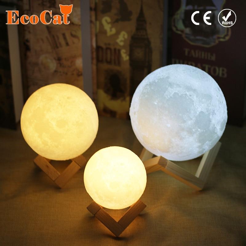 Lámpara de Luna luz LED 20 cm 18 cm 15 cm 3D impresión USB Luna 2 colores cambiante Interruptor táctil noche luz para creativo regalo casa