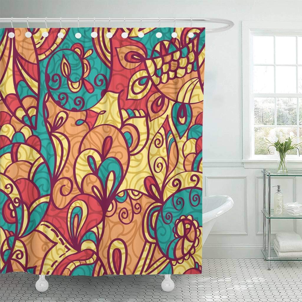 Us 14 9 50 Off Shower Curtain With Hooks Blue Graphic Luxury Monochrome With Floral Design Lace Brown Flower Painting Bathroom Curtains In Shower