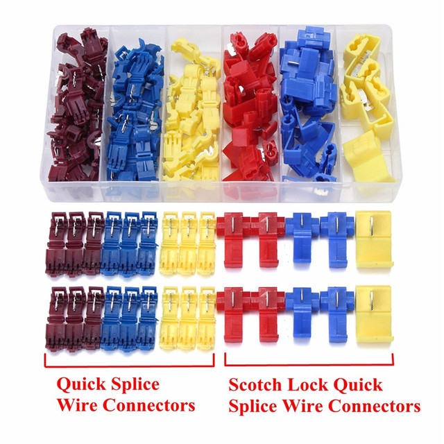 96Pcs Insulated 0.5-6mm Quick Splice Wire Connector Crimp Terminals 22-10 AWG Kit Cable Connectors Terminal Kit