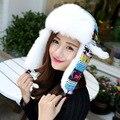 Invierno Mujeres de Piel Sintética de Aviador Bombardero Sombreros de Punto Deer Reno Chapeu Gorras Sombreros Gorras Orejera Orejeras Trapper Sombrero Ruso
