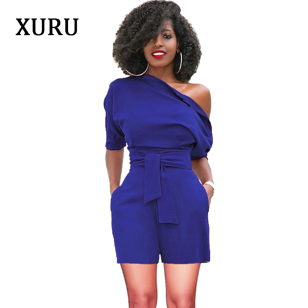 XURU Women Slash Neck Rompers Belted Button Jumpsuit Summer Solid Casual Bodycon Womens Overalls