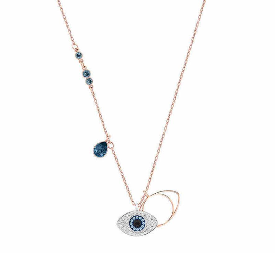 925 Sterling Silver Eye Of The Devil Amulet Pendant Necklace Turkey Blue Eyes Choker Statement Necklace Women Girl Best Gift