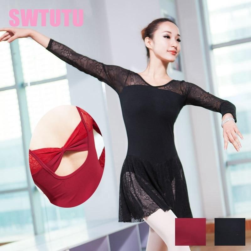 637a9329a Adultos de manga larga de encaje negro falda Leotardos de ballet mujer  bailarina profesional ballet ...