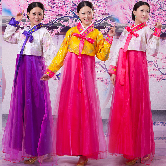 7 Color Hanbok Korean Traditional Dresses Embroidered Clothing For Women  National Costume Traditional Folk Dance Costumes f5dce7e445d4