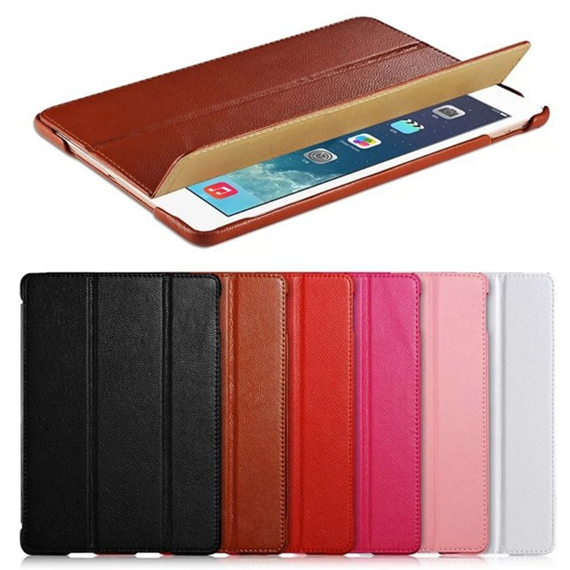 все цены на For ipad air 2 cover Luxury Genuine Leather case for ipad air2 Fashion Litchi Texture Funda Case for ipad air 2 black brown pink