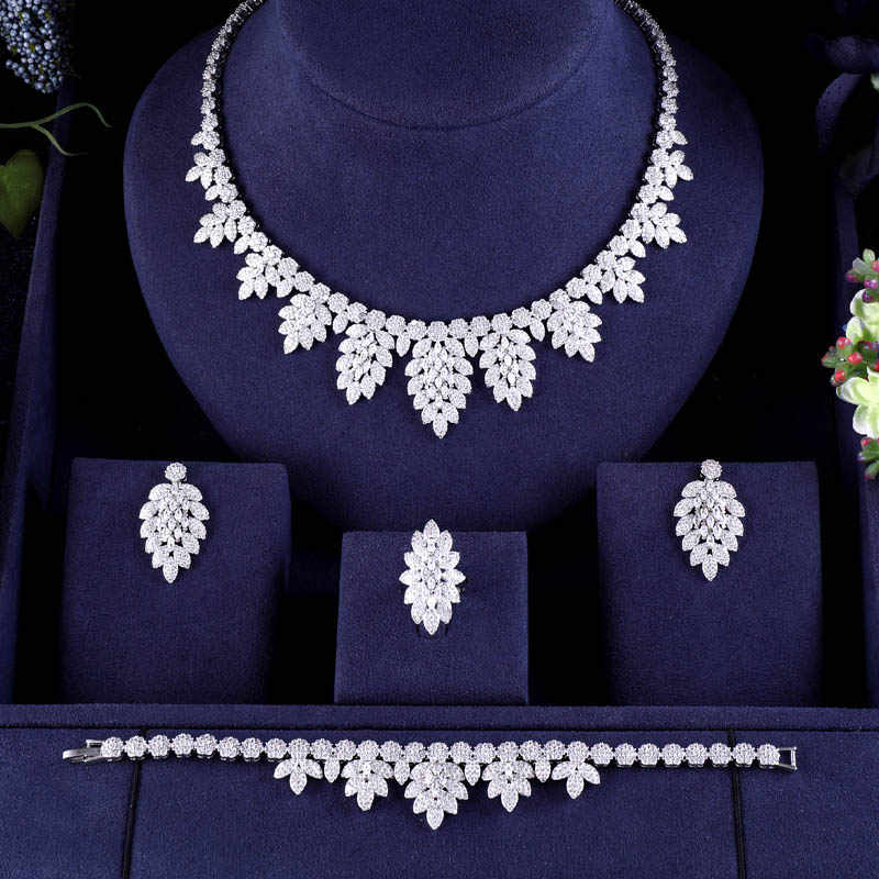 Luxury Women Jewels Elegant Shape Bridal CZ necklace earrings bracelet ring 4pcs  Big full Wedding Jewelry Sets For Bride