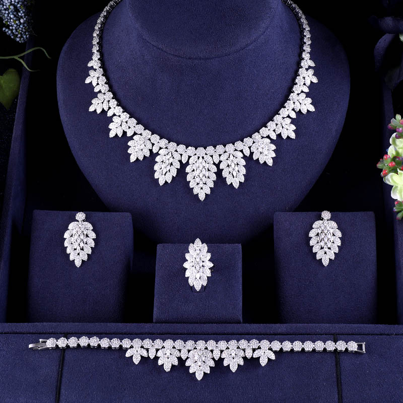 Luxury Women Jewels Elegant Shape Bridal CZ necklace earrings bracelet ring 4pcs Big full Wedding Jewelry Innrech Market.com