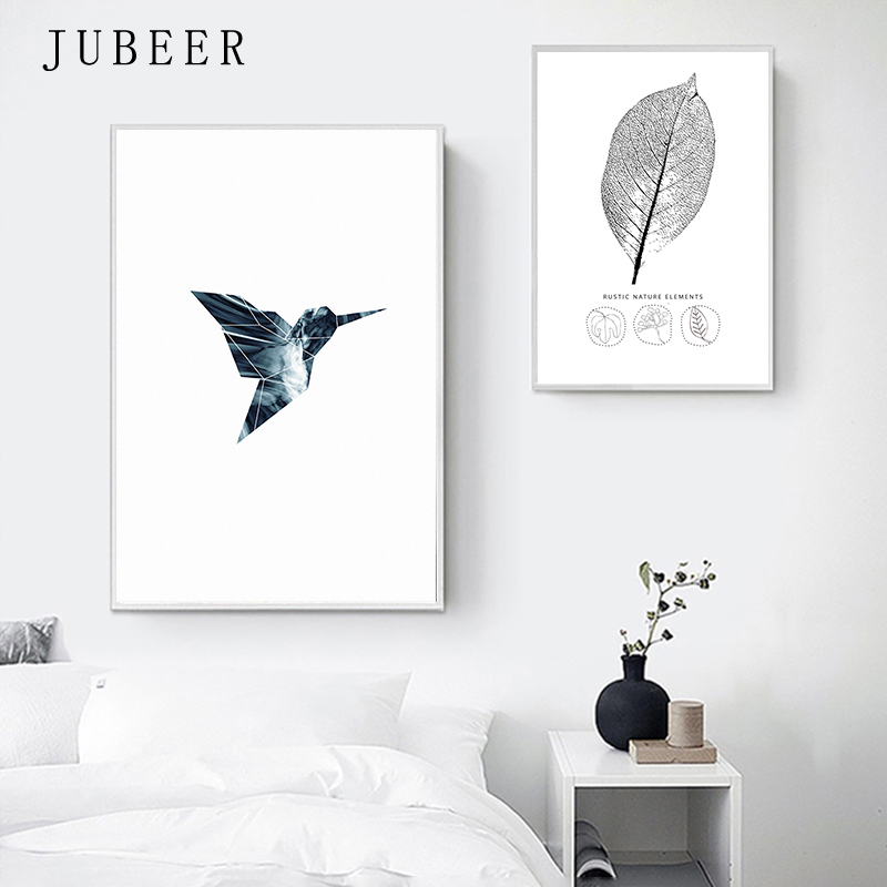 HTB1V7wGXjzuK1Rjy0Fpq6yEpFXaP Nordic Style Poster Minimalist Art Canvas Painting Bird Leaf Black and White Prints Wall Art Decoration Painting for Living Room