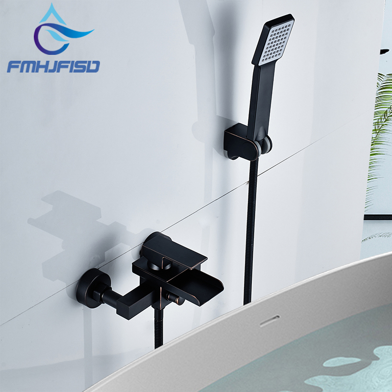 Bathroom Waterfall Tub Mixer Tap ORB Black Bathtub Shower Faucet With ABS Plastics Hand Shower