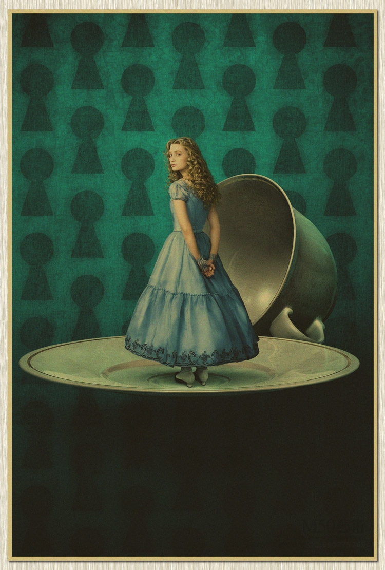 Poster Wall Chart Retro Paper Matte Kraft Paper Alice In Wonderland