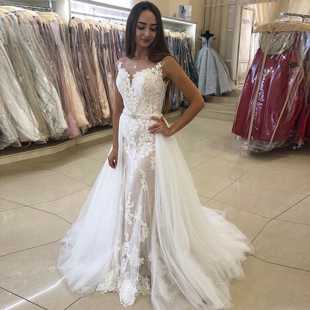 Elegant Mermaid Wedding Dress With Detachable Train Appliques Tulle Skirt 2019 New Vestido De Novia Sweep Train Bridal Dress