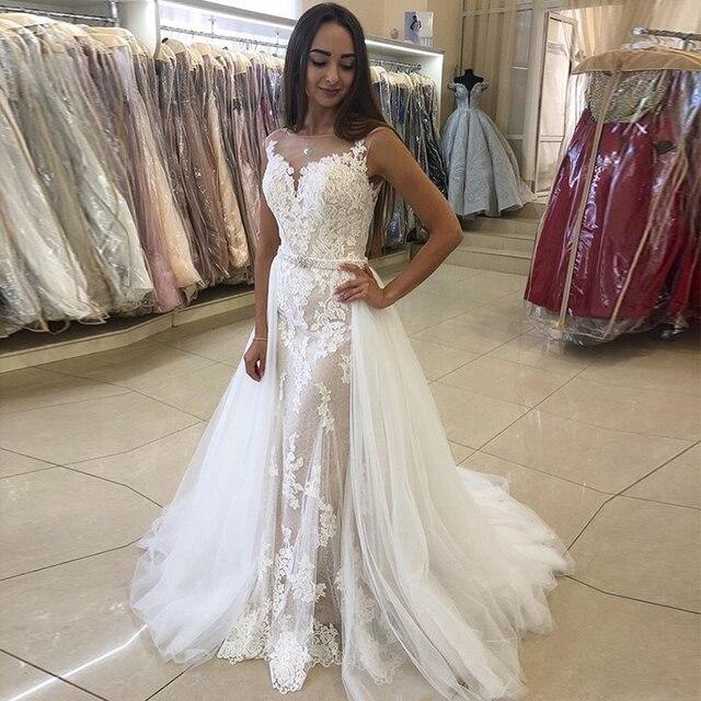 Élégante robe De mariée sirène avec détachable Train Appliques jupe en Tulle 2019 nouveau Vestido De Novia balayage Train robe De mariée