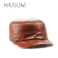 Haisum כובעי כובעי גברים אופנה כובע חאקי צבאי קלאסי עור רך חם מכירה CS01