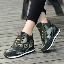 Koovan Womens Sneakers 2019 Running Shoes Female Increase Camouflage For Training Boots Canvas