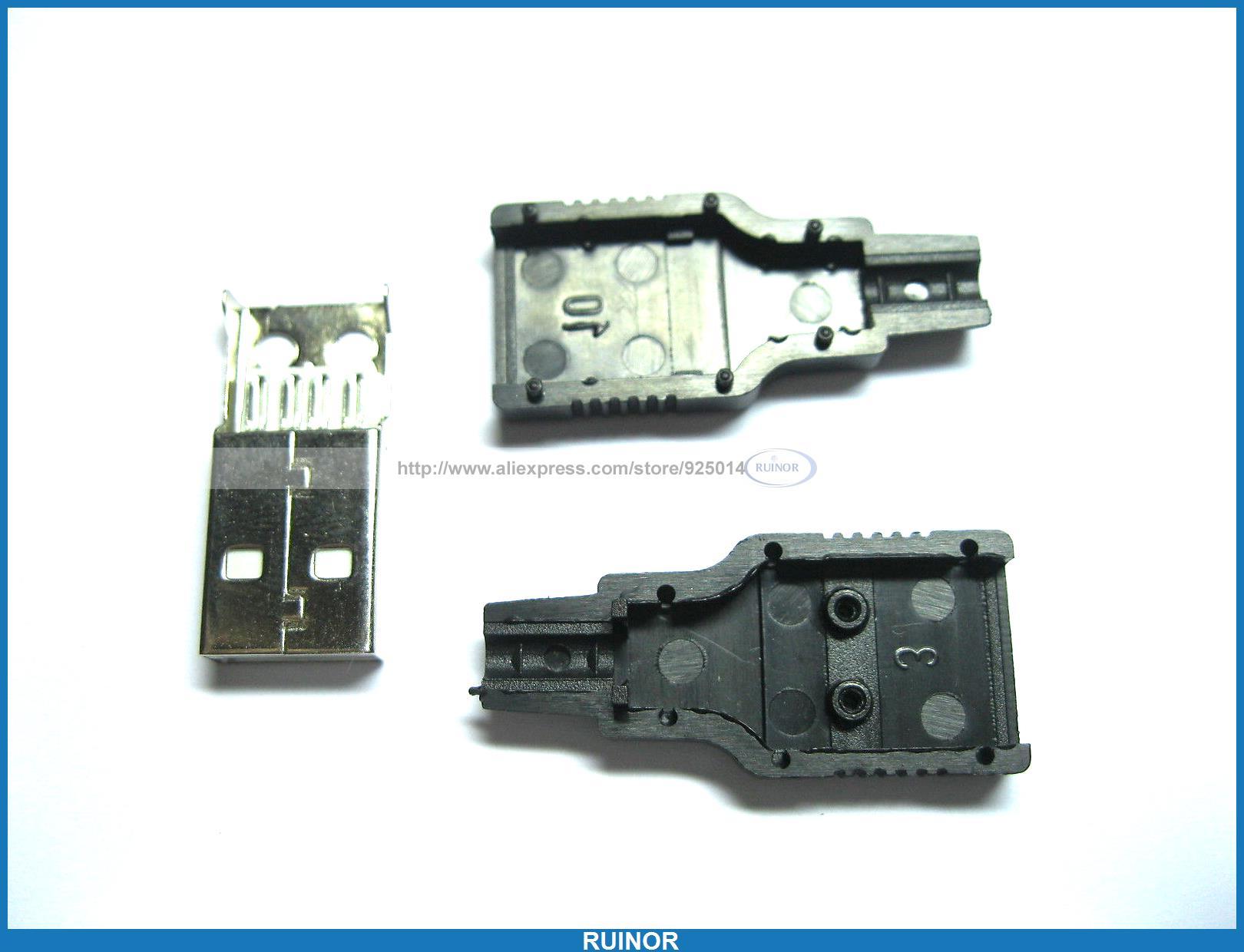 200 Pcs A M Solder 3 Piece 4 Pin USB Male Plug Connector Black Plasitc Cover mylb 10pcs type a male usb 4 pin plug socket connector with black plastic cover