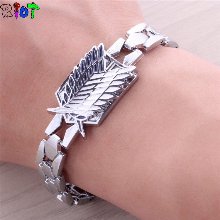 Julie Attack on Titans Wings of Liberty Alloy Silver Bracelets for Men Women Anime cosplay Survey Corps Stainless steel Bracelet