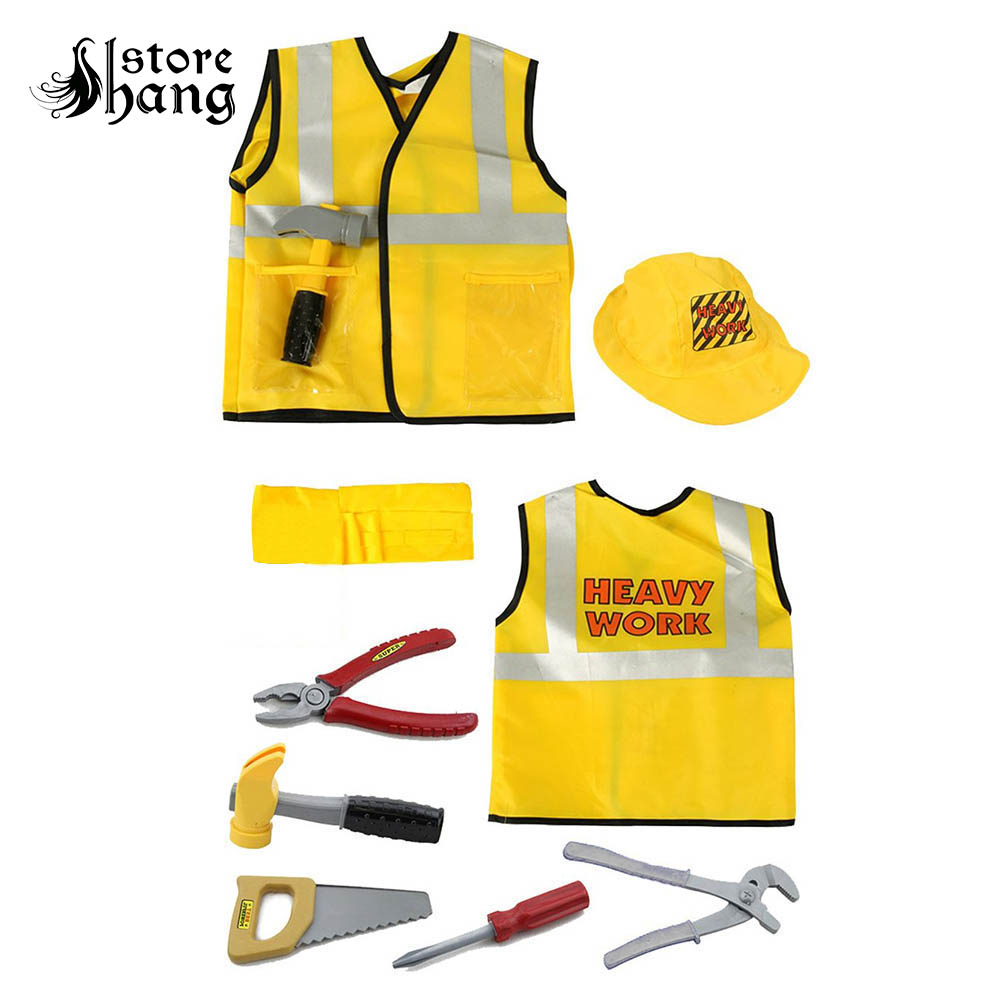 Kids Construction Worker Costume Worker Role Play Toy Set Career Costumes for Children Halloween Costumes with Accessories