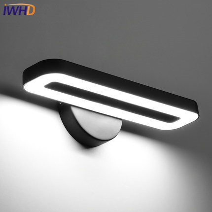 IWHD Modern Wall Lamp Simple Bathroom LED Mirror Light Fixtures Home Lighting Creative Black White Sconce Lamparas de pared concise style modern wall light lamp led for home lighting wall sconce arandela lamparas de pared