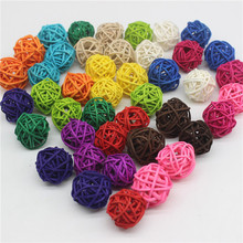 100PCS/Lot 3CM Mixed Color Rattan Ball DIY Ornaments Home Ornament Christmas Birthday Wedding Party Kids Gifts Decorations