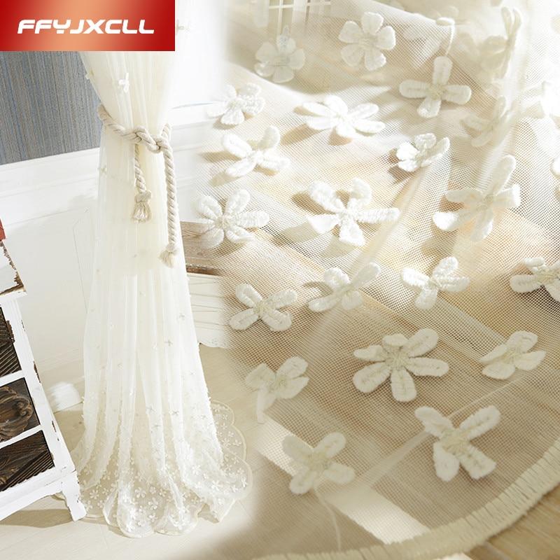 Wysokiej jakości koreańskie stereoskopowe haftowane białe zasłony - Tekstylia do domu