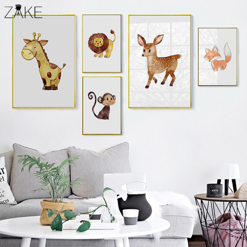 Watercolor Lion Fox Monkey Deer Wall Art Canvas Painting Nordic Posters And Prints Cartoon Animal Pictures Kids Room