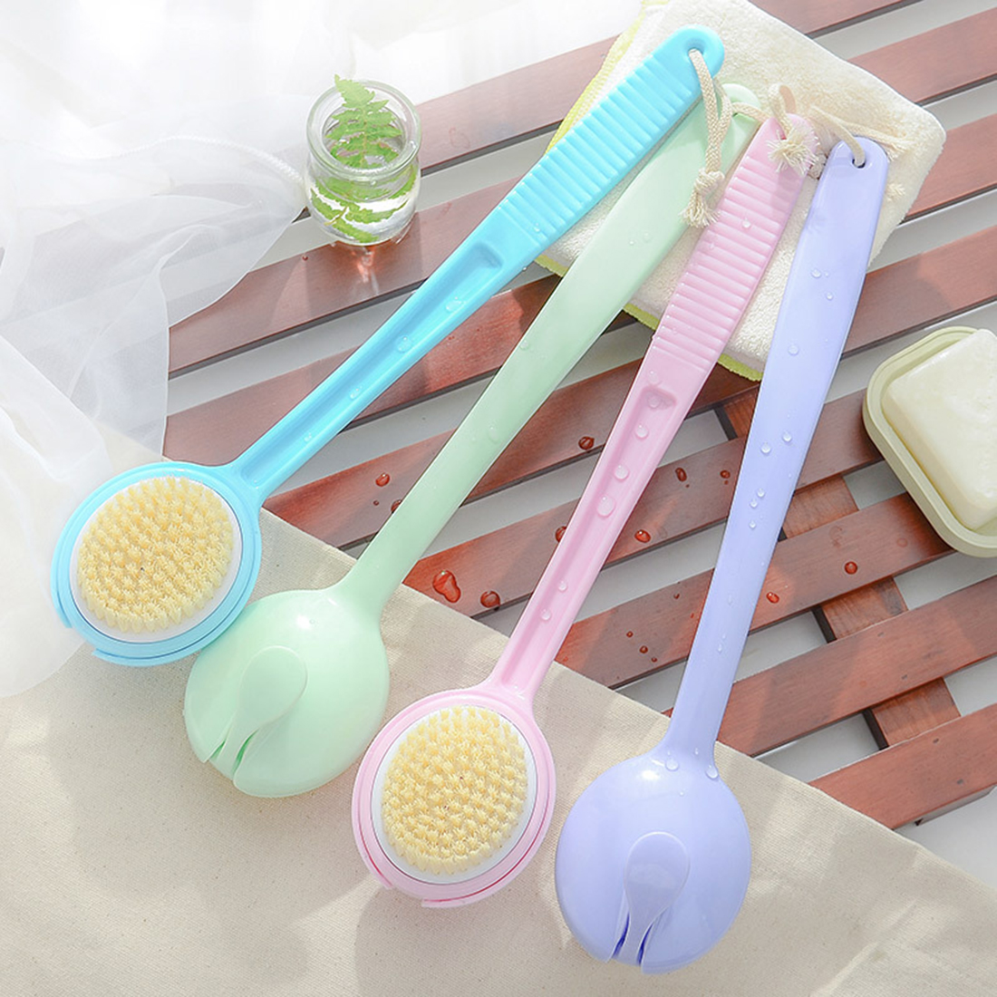 Soft Bath Body Brush Long Handled Health Care Bath Brushes Body Cleaning Round Brushes Skin Massage Brush Body Accessories