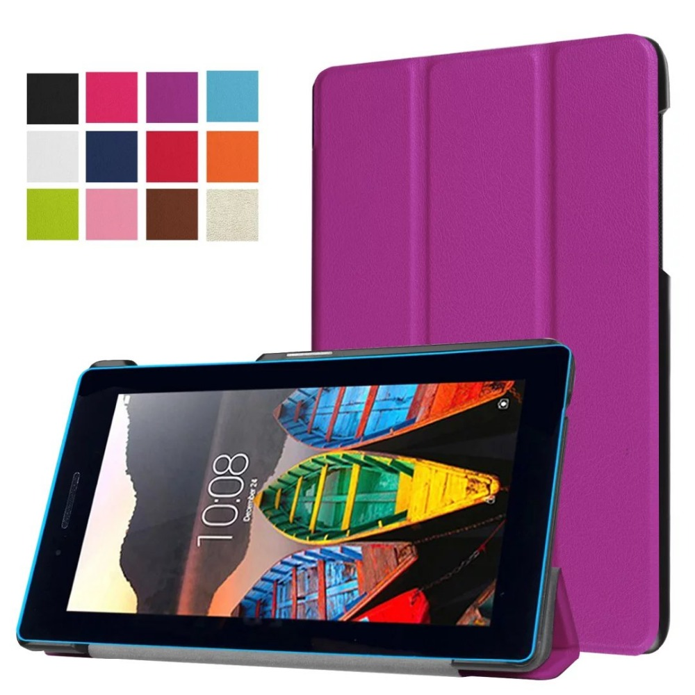 For Lenovo Tab3 7 Essential 710F 710I 7 inch Tablet Ultra Slim Custer 3-Folder Folio Stand PU Leather Magnetic Skins Shell Cover slim fit stand feature folio flip pu hybrid print case for lenovo tab 3 730f 730m 730x 7 inch