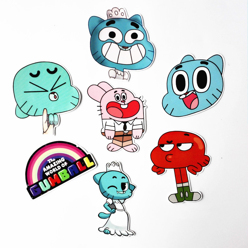 14 Pcs/set Funny Anime The Amazing World Of Gumball Stickers Colorful Cat Sticker For Car Laptop Phone Decal Kids Toy Sticker