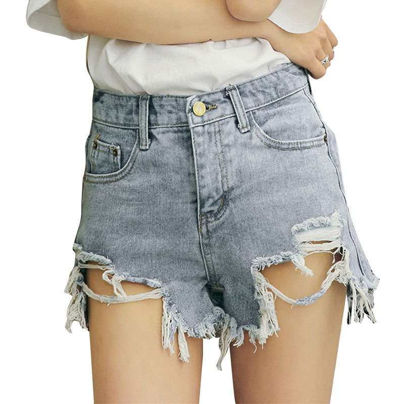 Mini shorts sexy ripped short jeans female light blue holes Ulzzang hotpant feminina shorts Low waist denim shorts women bottoms