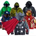 2016 Autumn Children Hoodies Fashion Boys Hooded Jacket Cartoon Spiderman Captain America Avenger aircraft Superhero Kids Coat